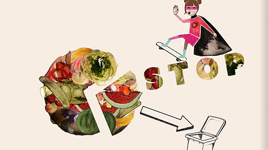 Illustration of a girl on a skateboard, the word stop and food going in to a bin